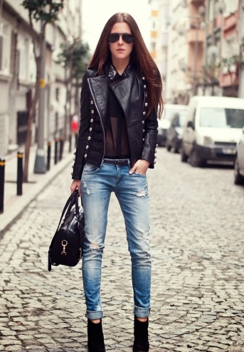 3.-leather-jacket-with-denim-pants